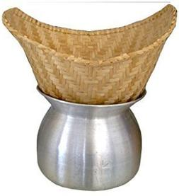 Set of Sticky Rice Steamer Pot and Basket with Cotton Cheese